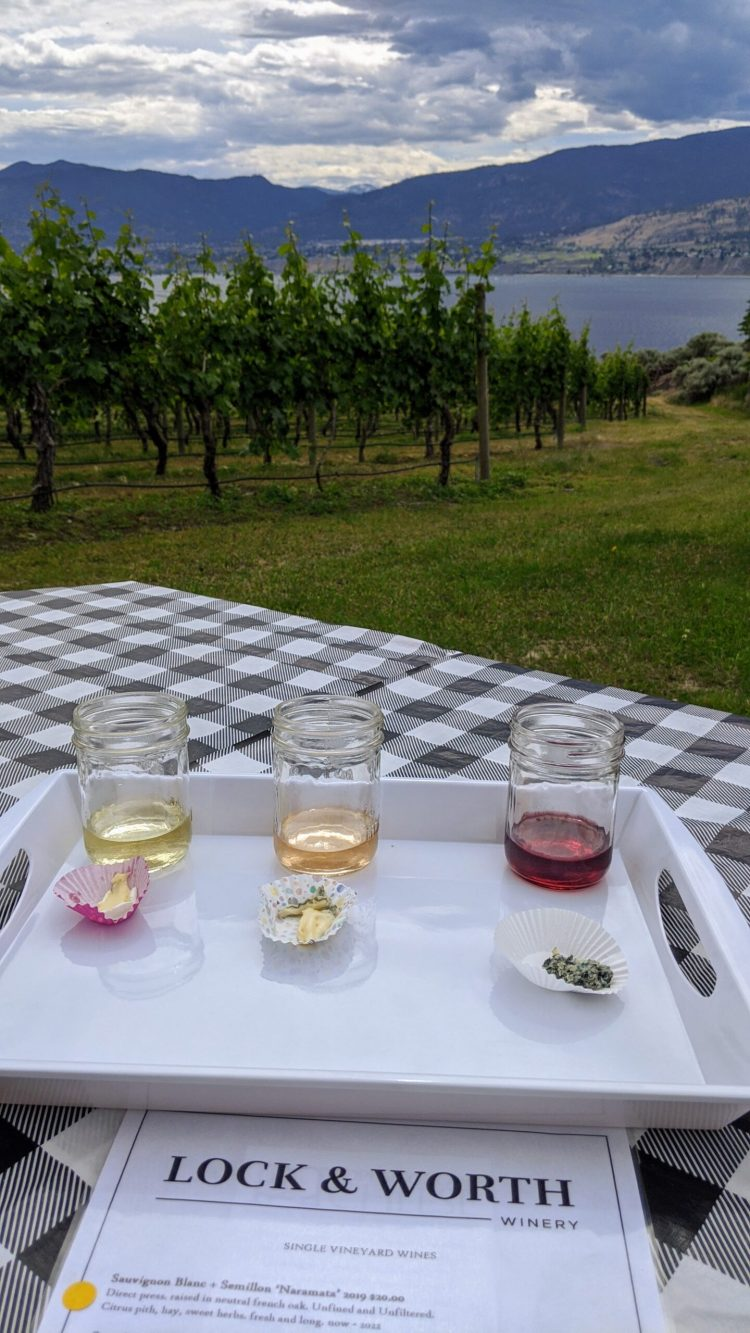 Outdoor wine and cheese tasting at Lock & Worth