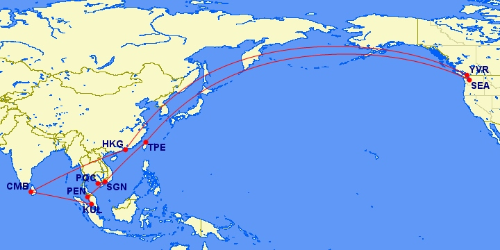 We Leave Today Trip Route Map: 19,143 miles over 10 segments