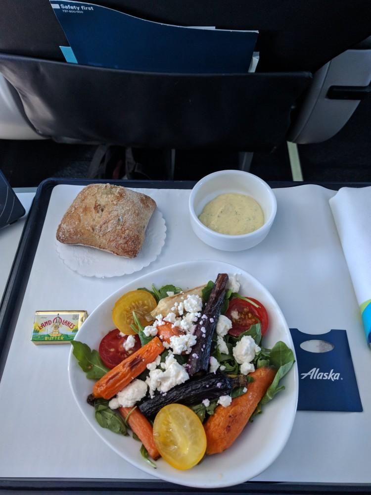Salad on Alaska Airlines BOS-SEA
