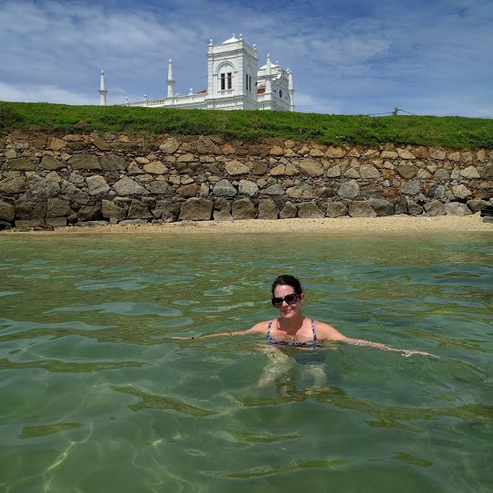 Swimming by the mosque at Lighthouse Beach in Galle Fort