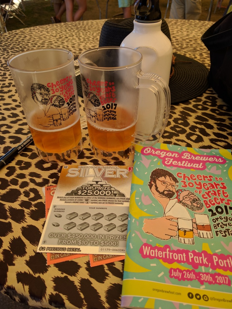 Oregon Brewers Festival 2017 Program, mug and other swag