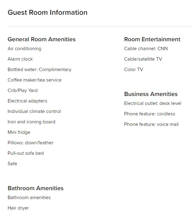 Guest Room Information