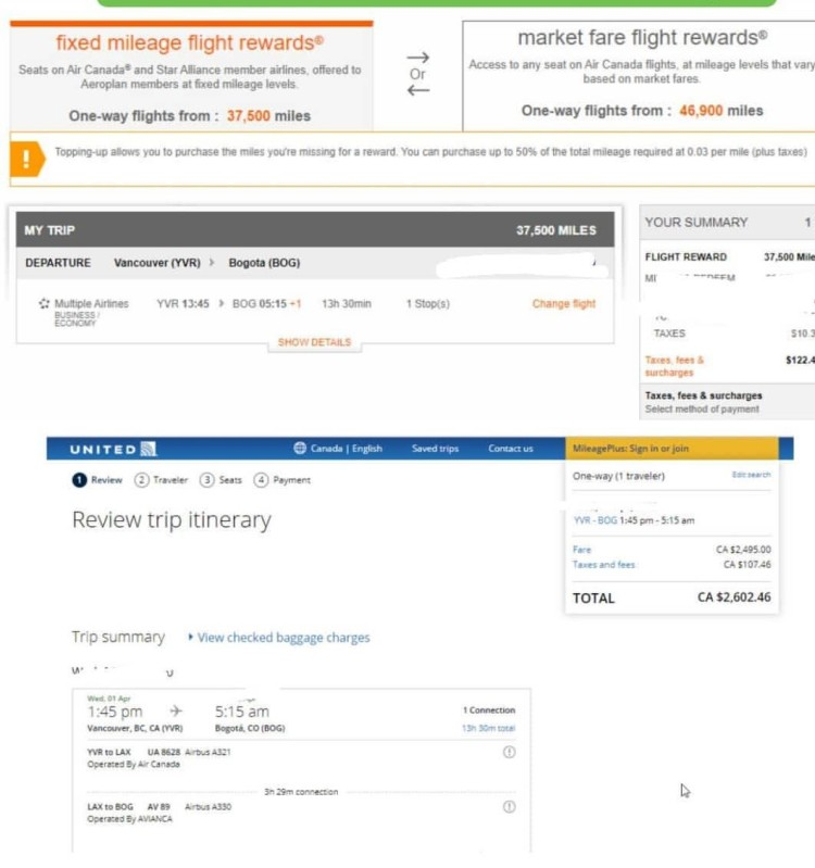 Aeroplan Redemption on Avianca vs Paying for the Ticket