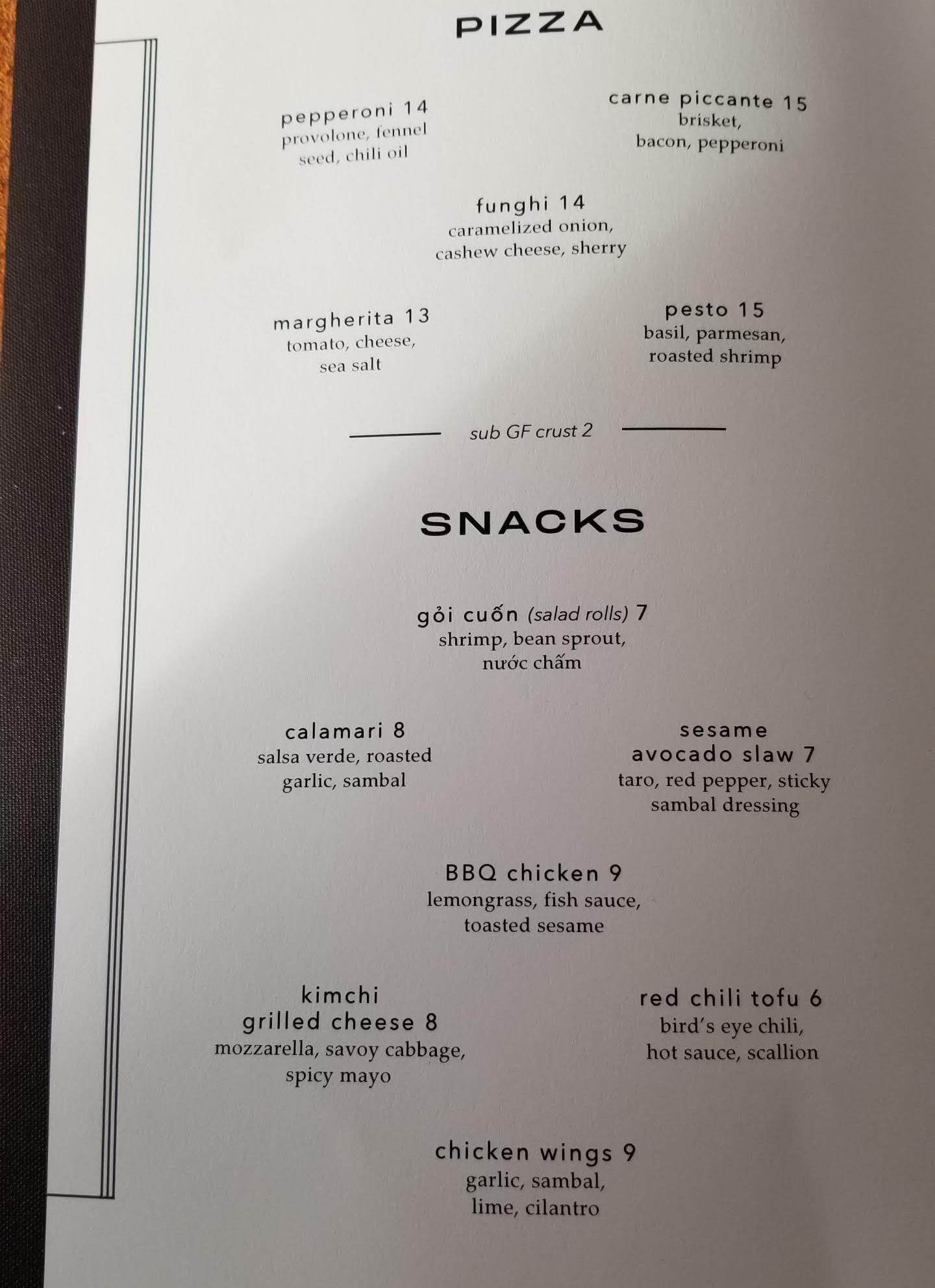 Food menu at Sing Sing Beer Bar
