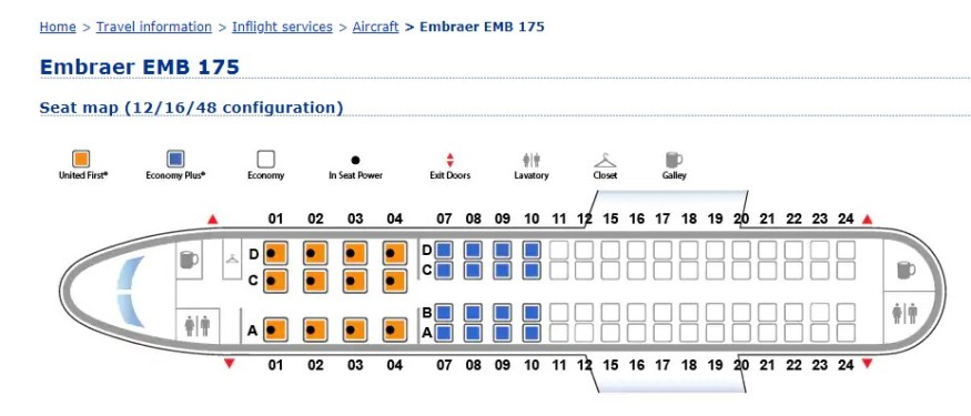 United Airlines Embraer 175 seatmap