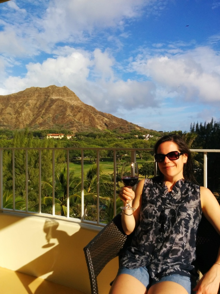 Wine hour on the balcony with a view of Diamond Head