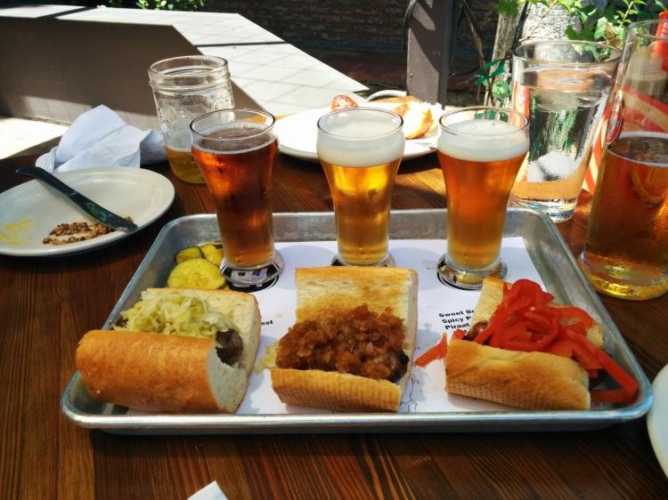 Brat Haus beer and sausage slider flight