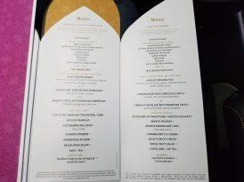 Food menu for dinner