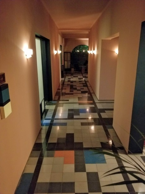 Hallway by the lobby at Casa Habita in Guadalajara