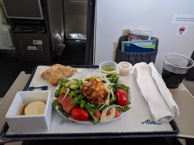 First Class Meal on Alaska Airlines DAL-SEA