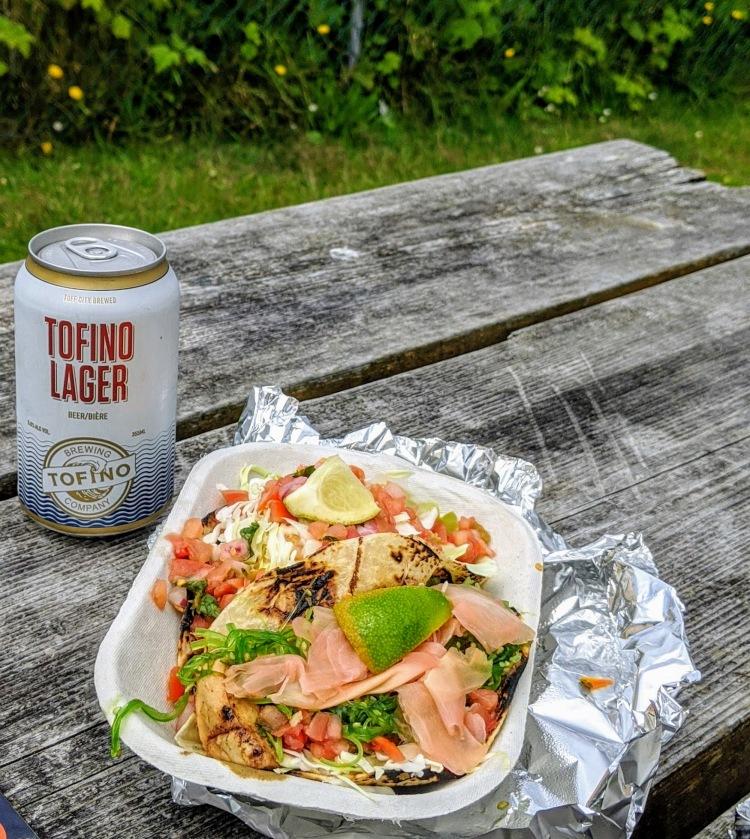 Enjoying tacos from Tacofino in Tofino