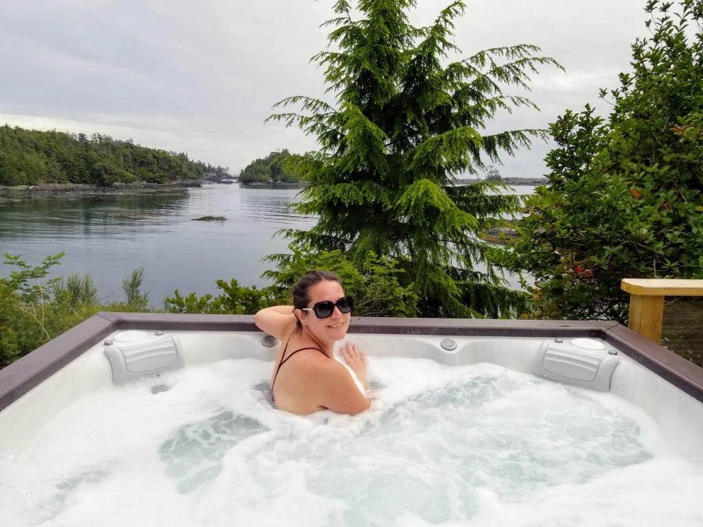 378 Marine Drive Guest House: Max enjoying the hot tub