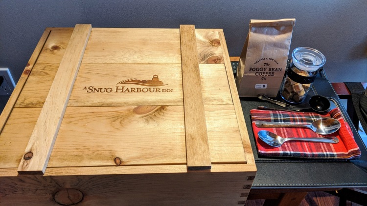 A Snug Harbour Inn: The breakfast crate and local coffee from The Foggy Bean