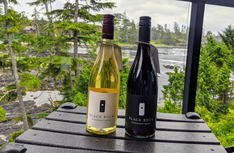 Black Rock Ocean Front Resort: house wine made in Oliver BC! Not bad, at about $29 per bottle if we recall correctly