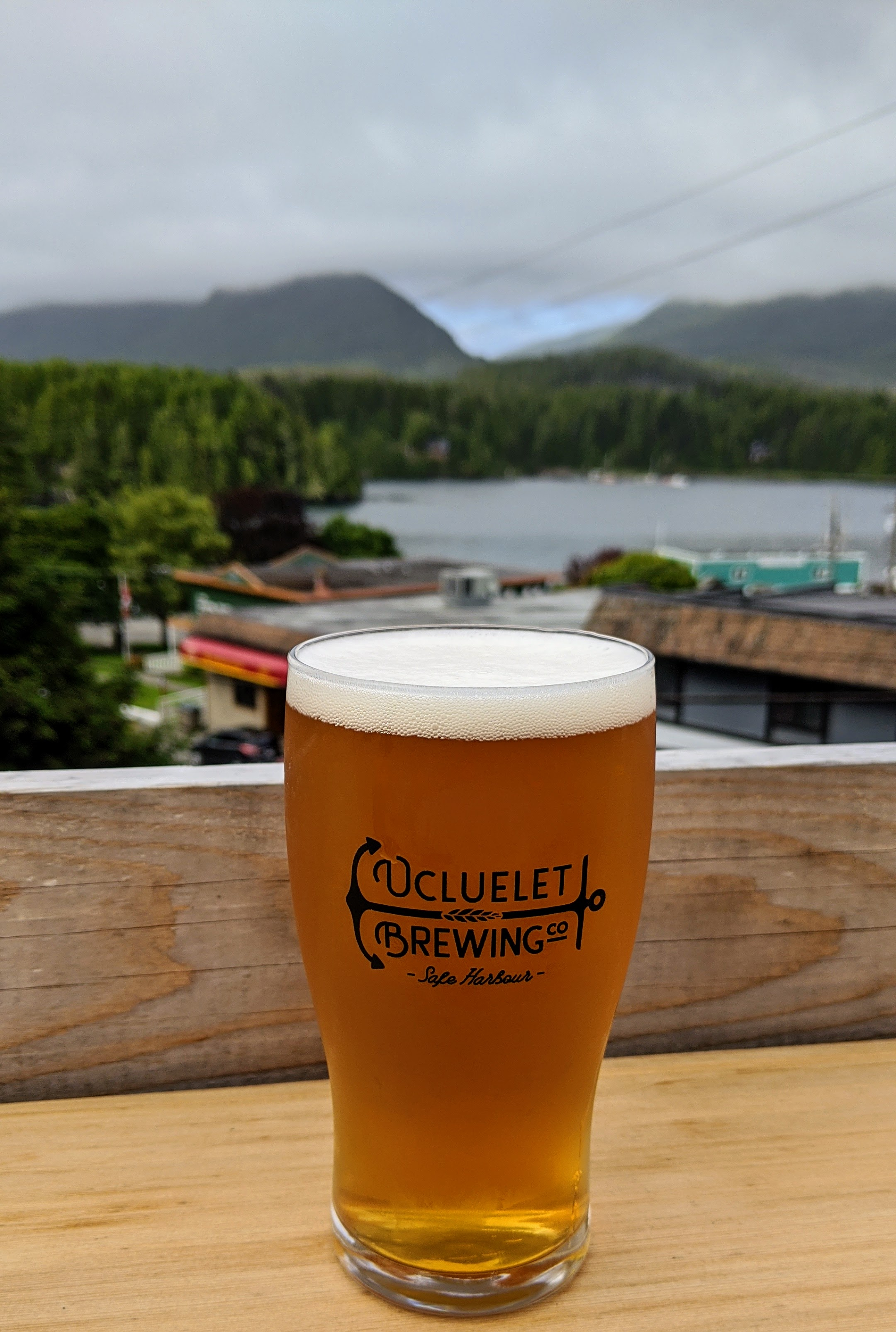 Enjoying a beer at Ucluelet Brewing