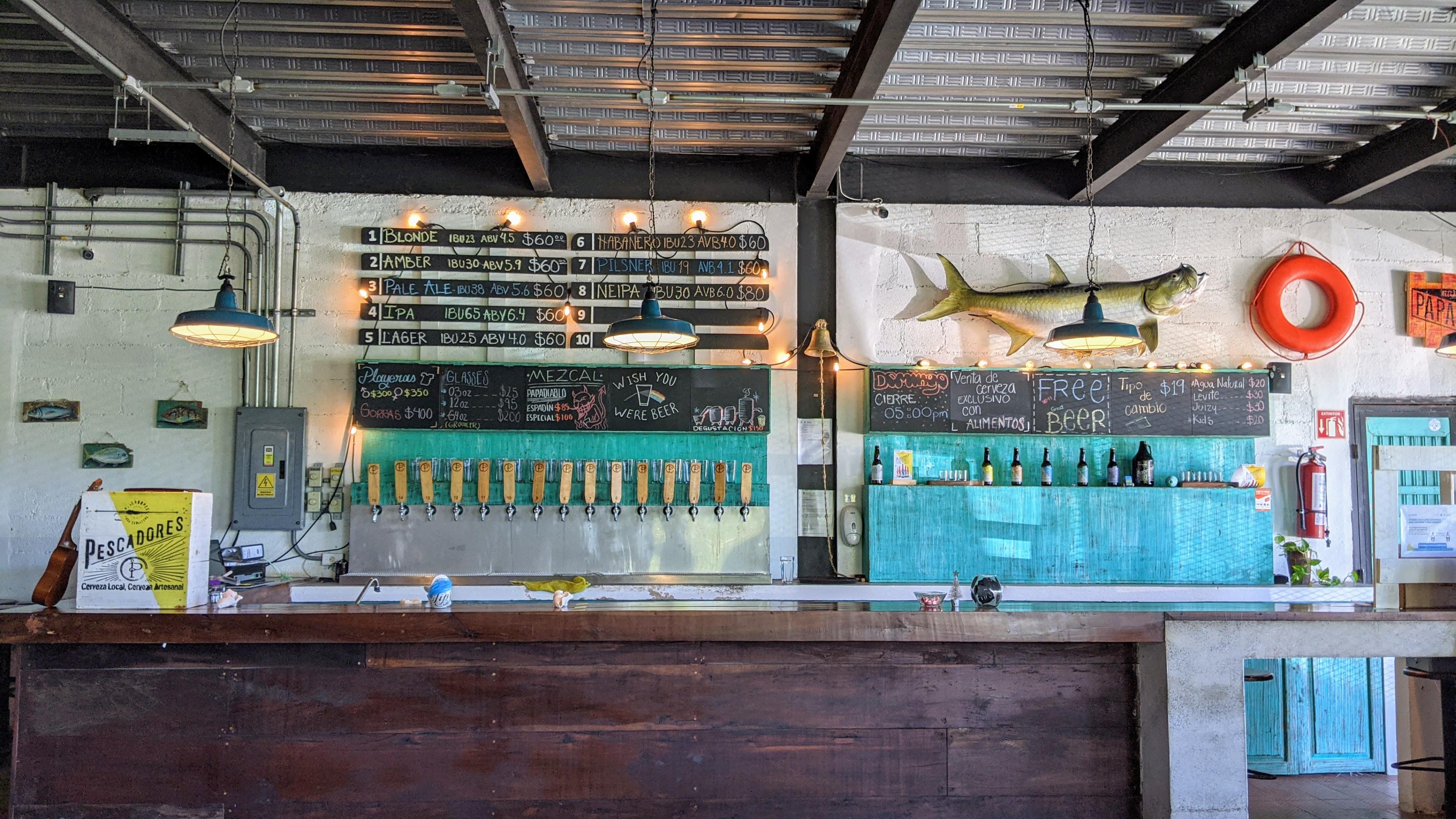 The tasting room at Cerveza Pescadores