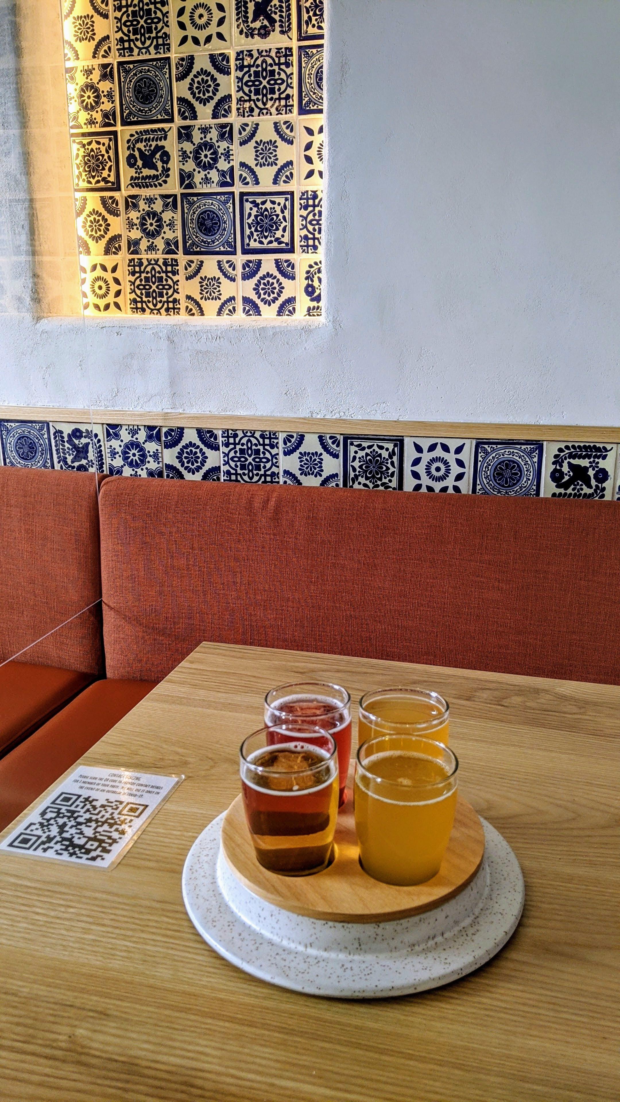 Beer flight at Cerveceria Astilleros