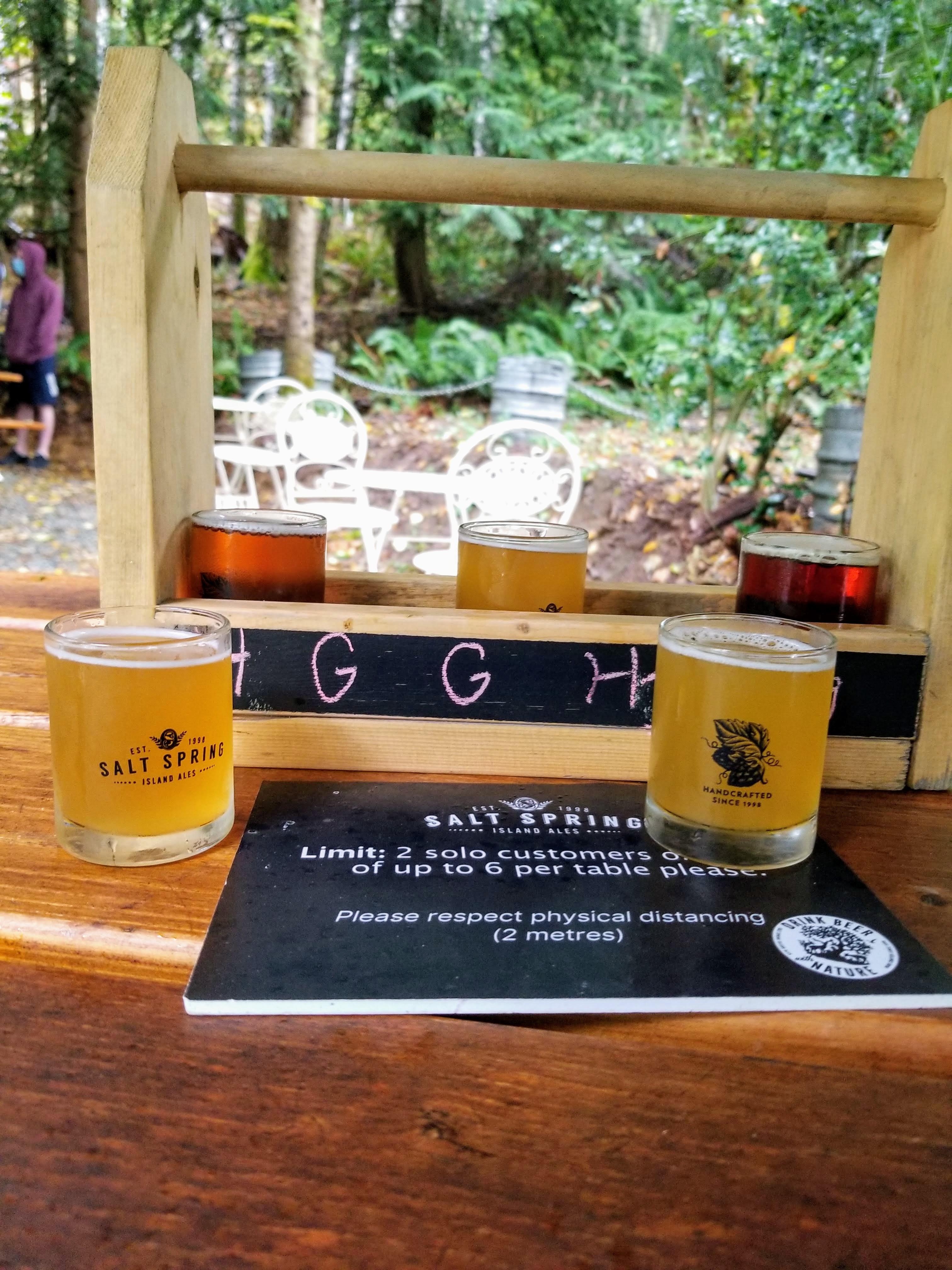 Salt Spring Island Ales: Beer flight outside
