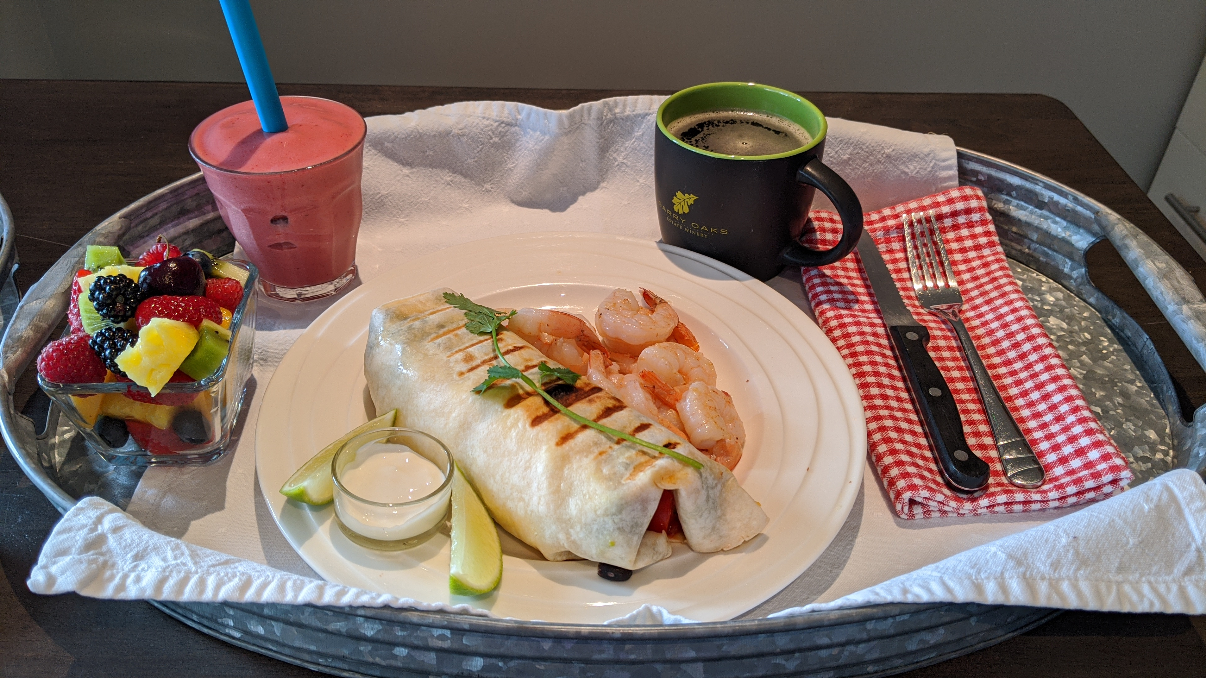 Sunrise Isles Bed and Breakfast: shrimp and breakfast burrito