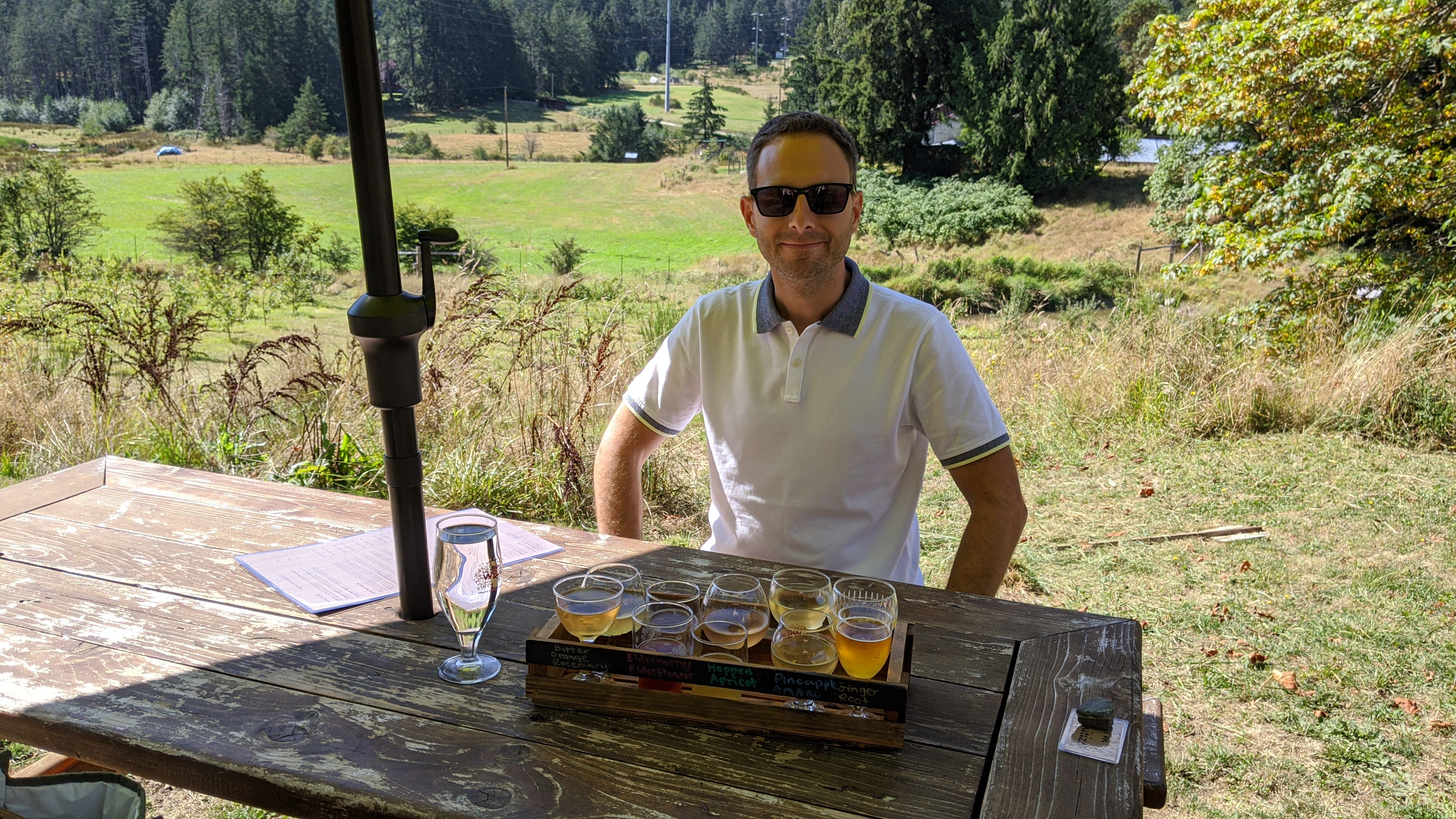 Salt Spring Wild Cider: Jason with a tasting flight of all their ciders