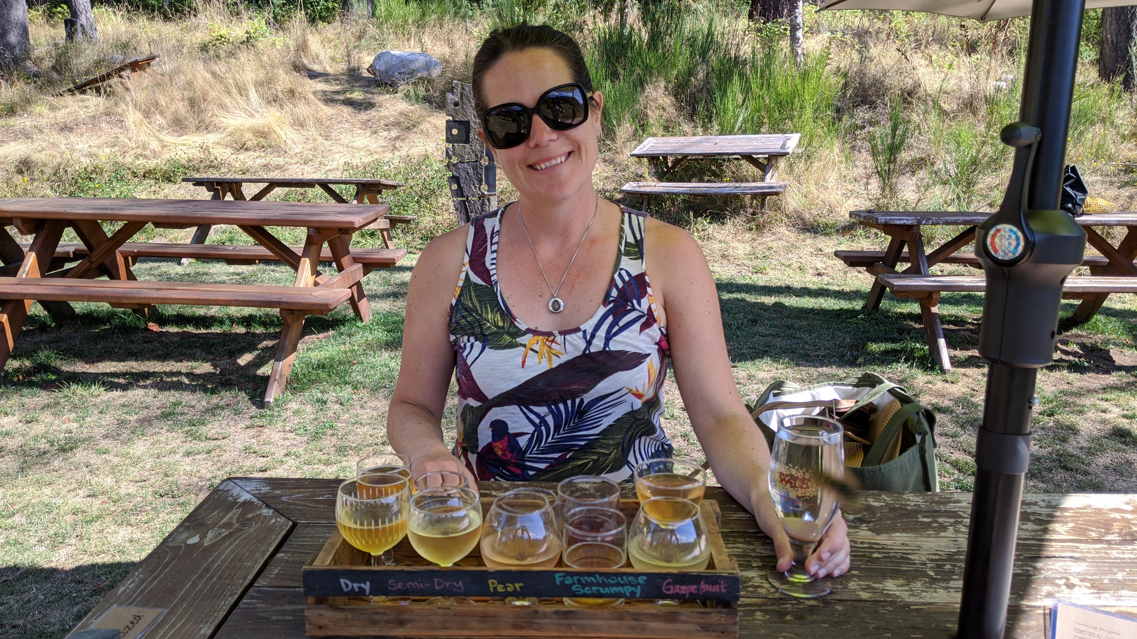 Salt Spring Wild Cider: Max with a tasting flight of all their ciders