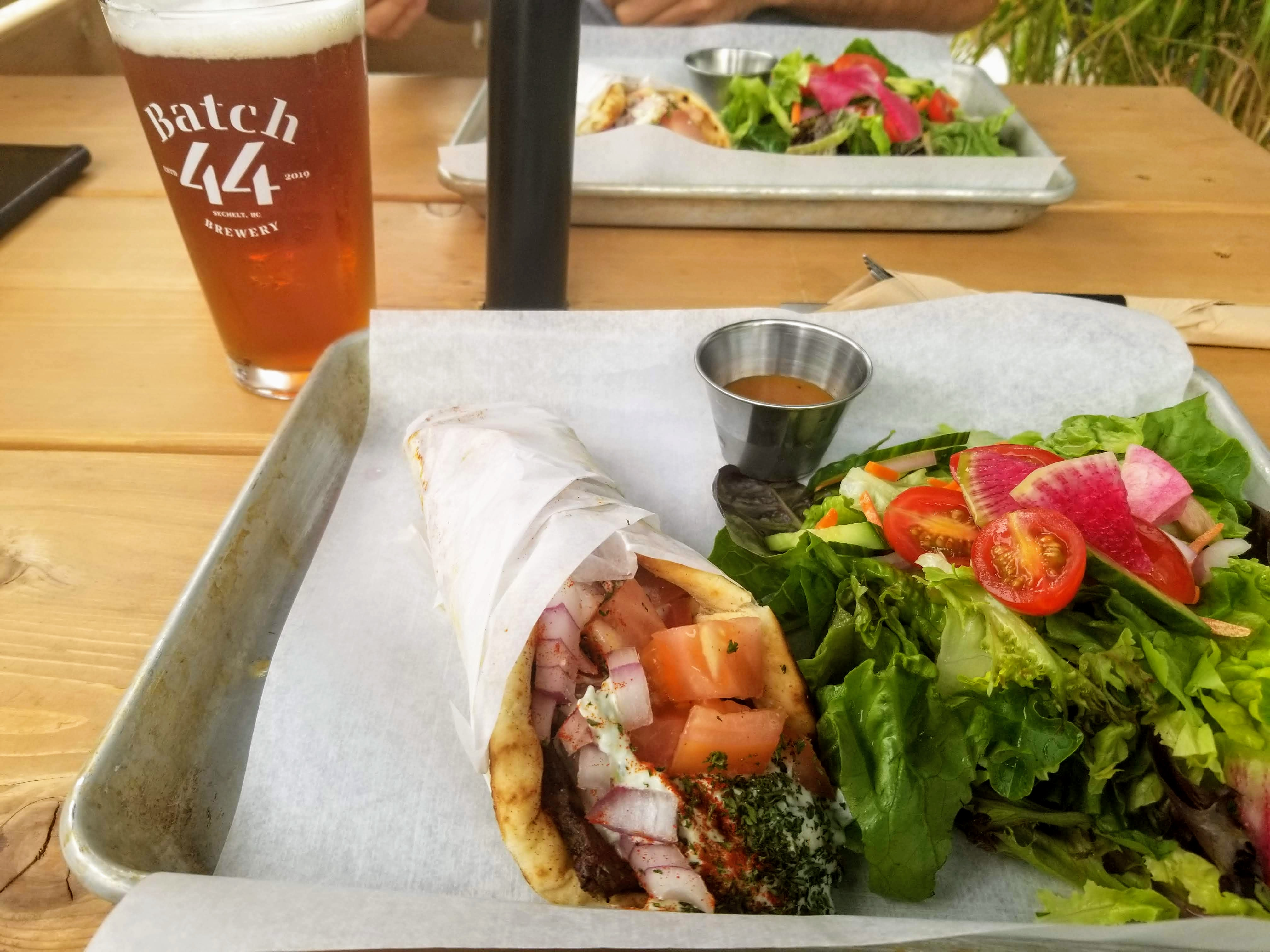 Batch 44 in Sechelt- Beer and donair with salad