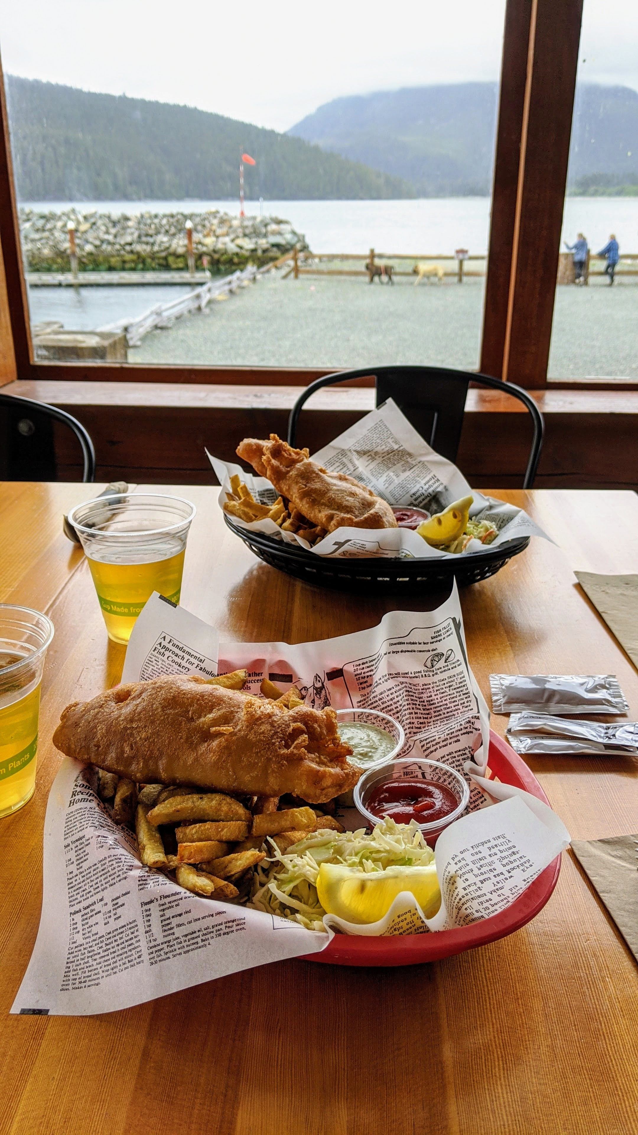 Fish and chips and beer at Bridgeman's in Port Renfrew