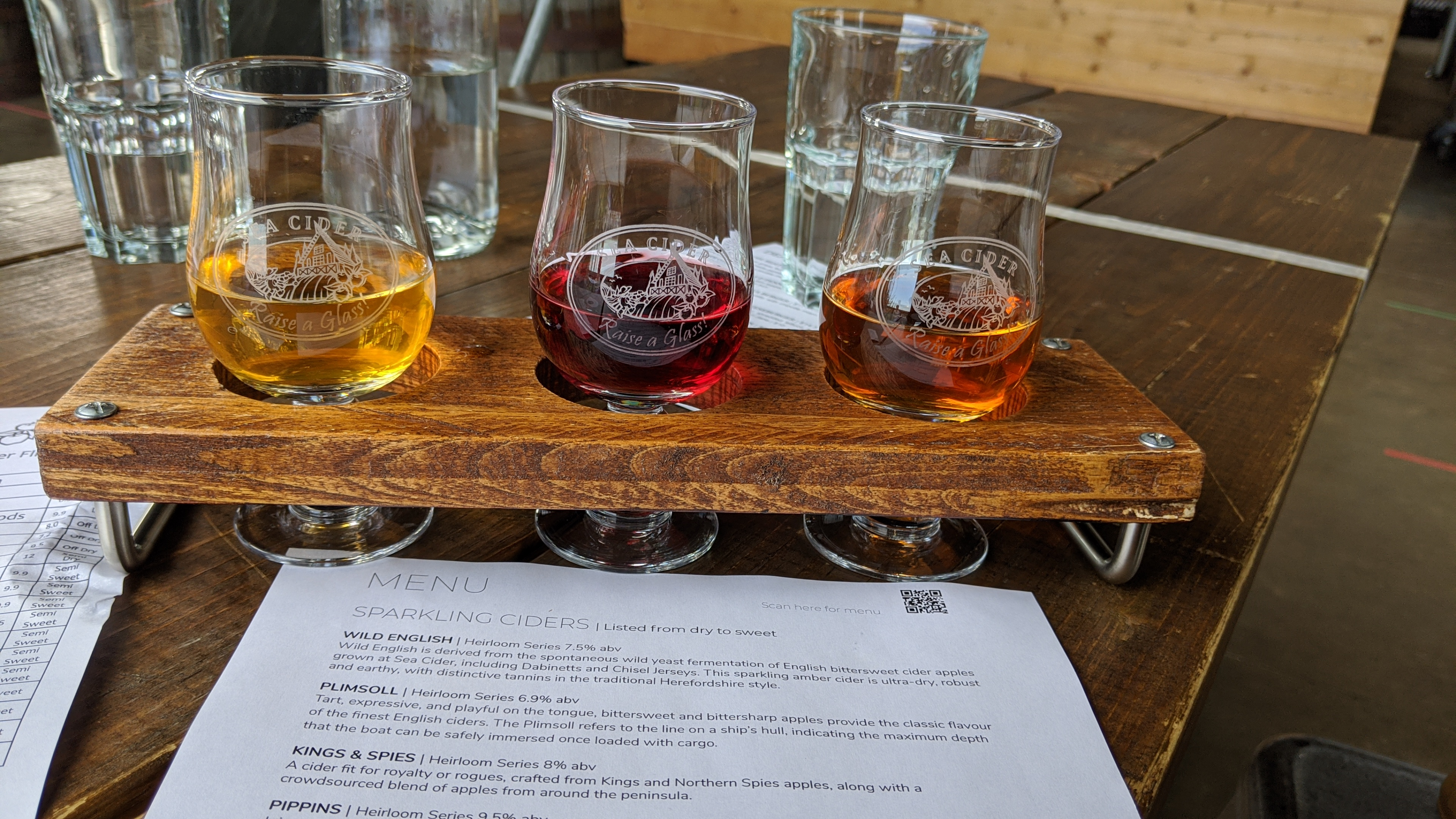 A cider flight at Sea Cider in Saanichton