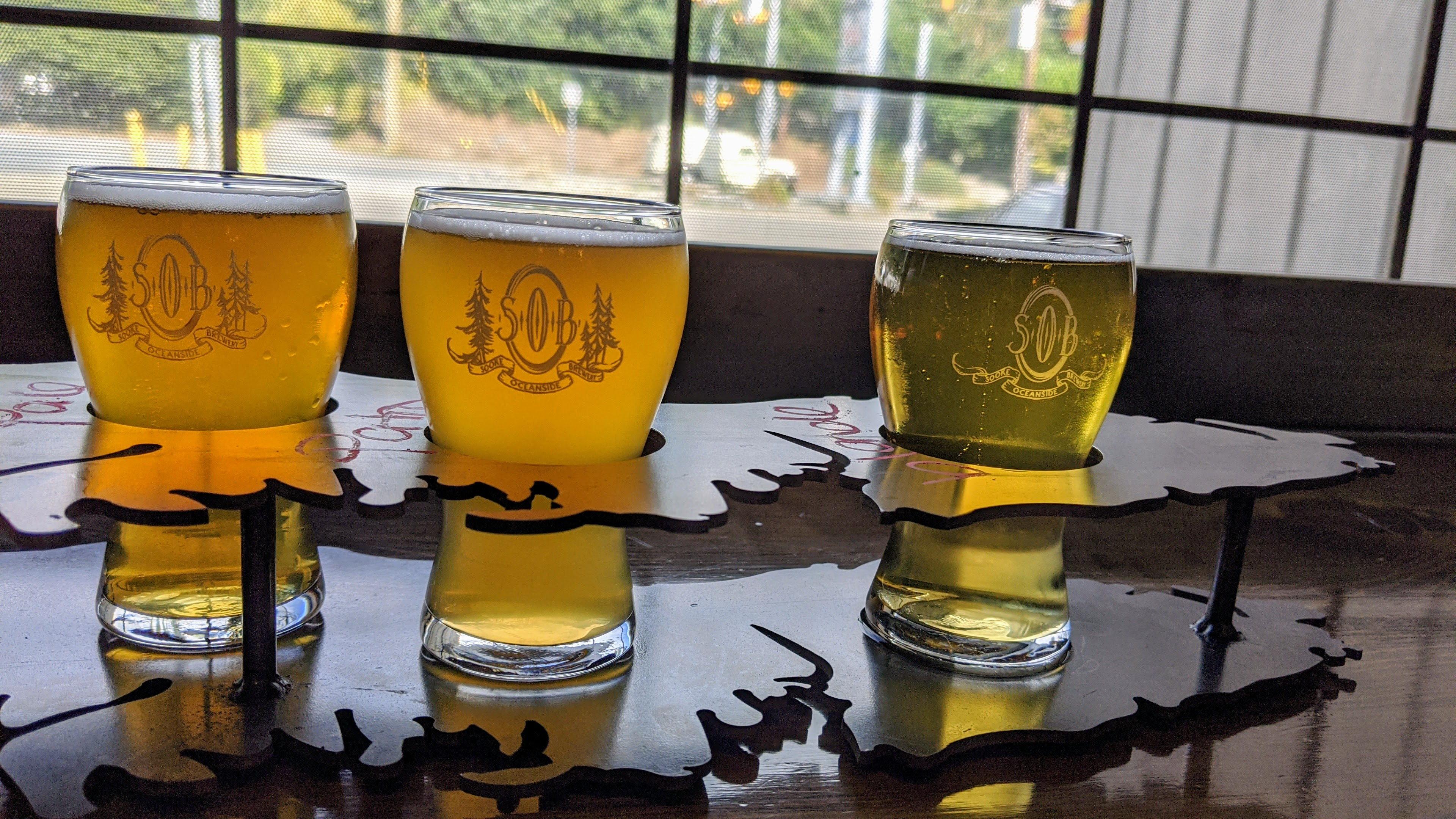 A beer flight at Sooke Oceanside Brewing in Sooke