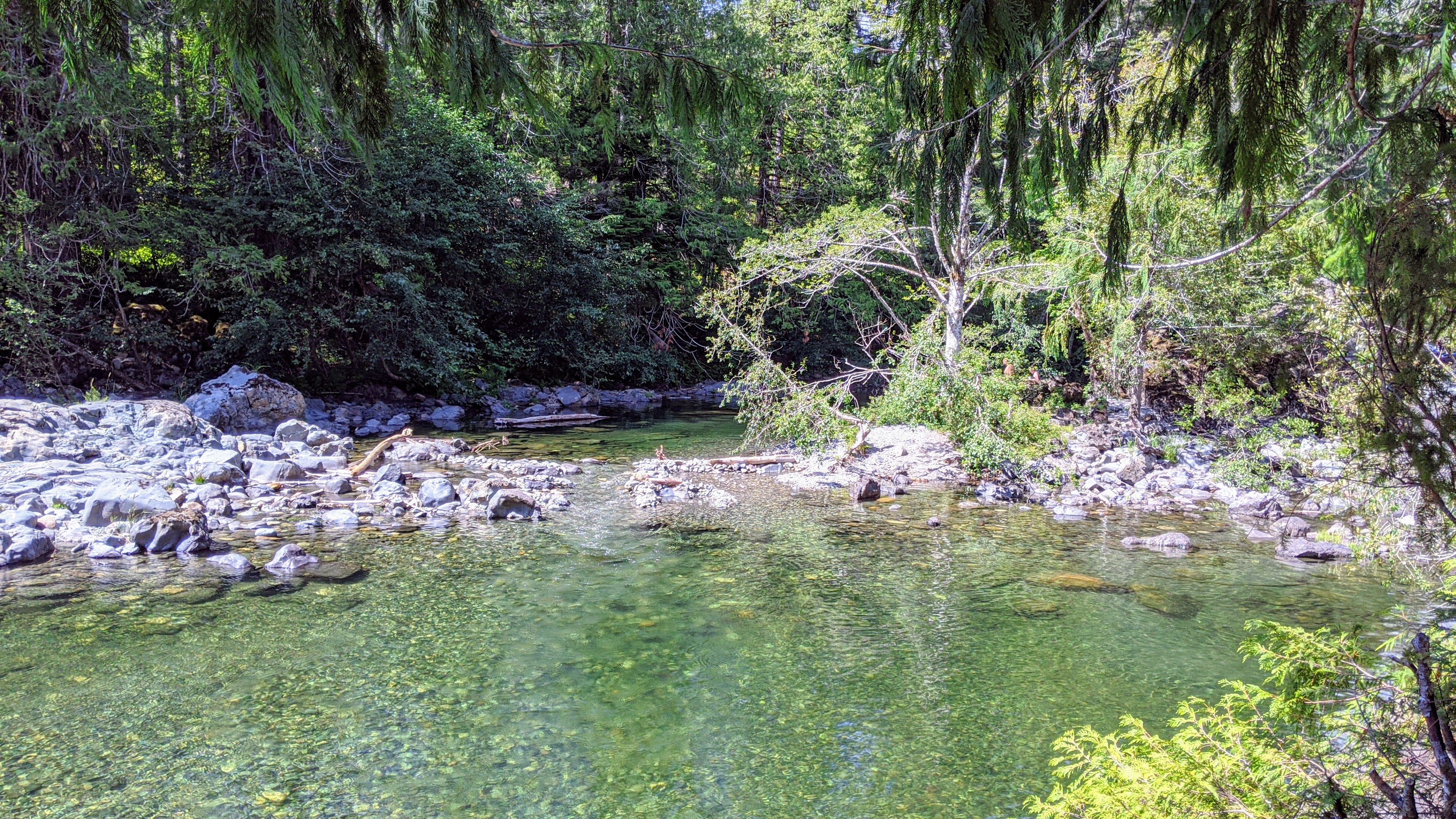 One of the swimming holes at Sooke Potholes Park in Sooke. You can actually slide down the little stream and access the other pools. The water is very cold though!