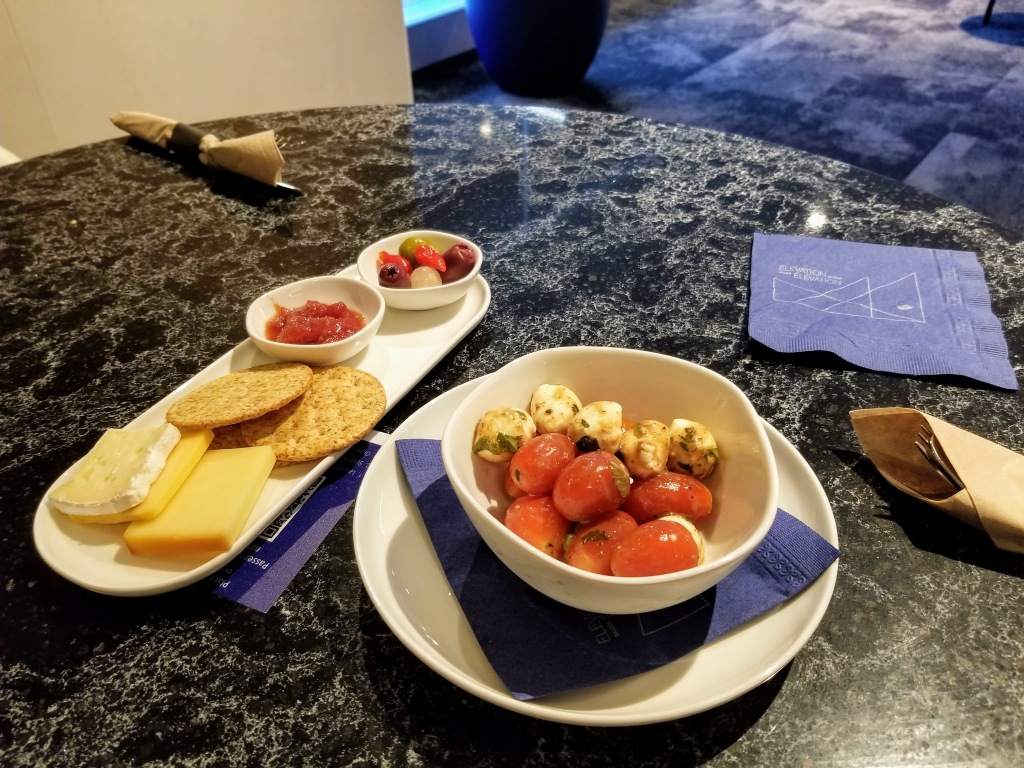 YYC WestJet Elevation Lounge: Cheese plate and caprese salad