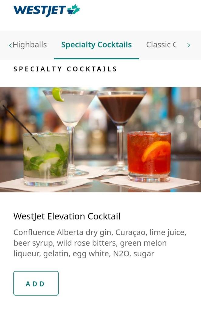 YYC WestJet Elevation Lounge: Menu