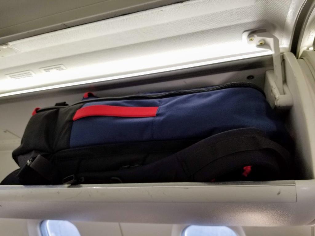 Topo Designs 40L Travel Bags: it fits in an economy class CRJ bin!