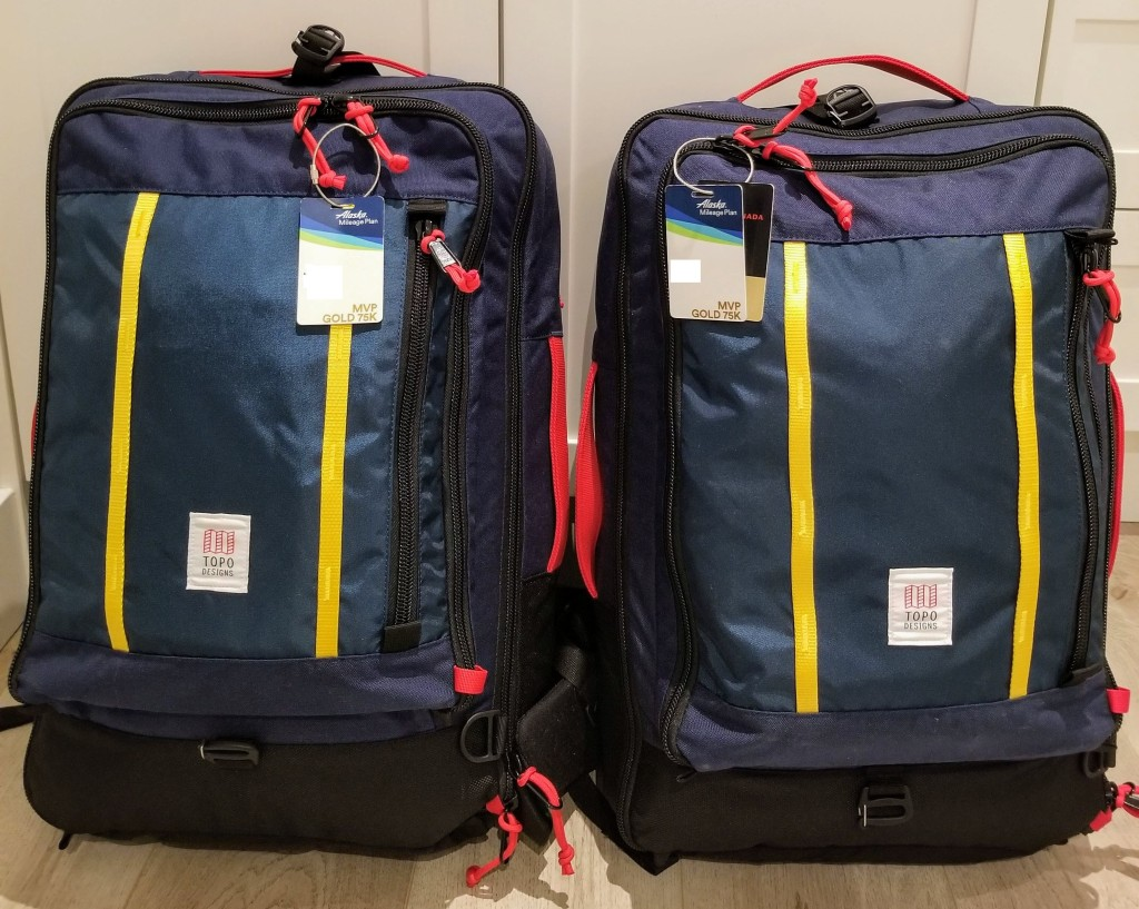 Topo Designs 40L Travel Bags: His and Hers matching bags