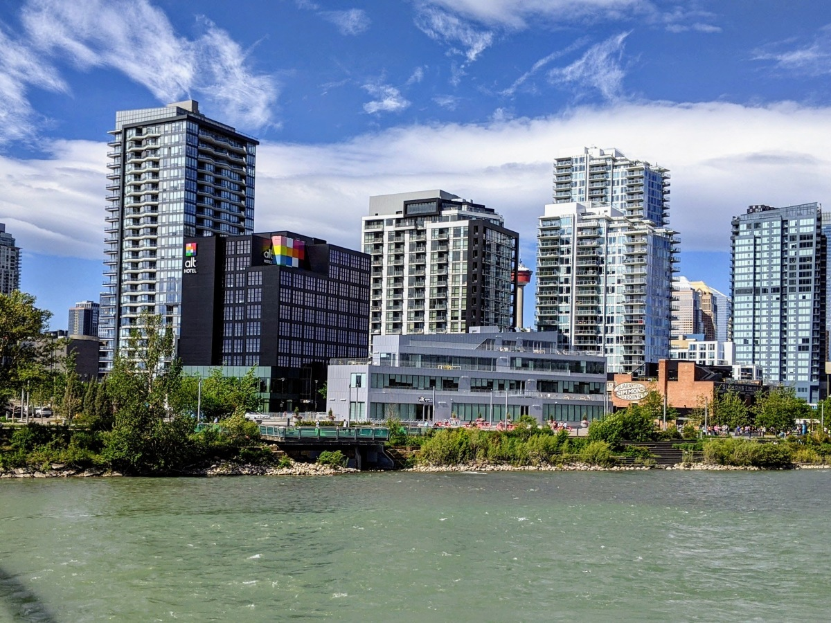 View of the Alt Hotel Calgary East from across the river