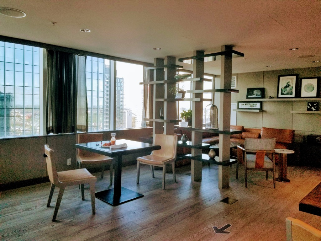 JW Marriott Edmonton ICE District: Lounge where you can have breakfast and evening snacks. All day snacks available too.