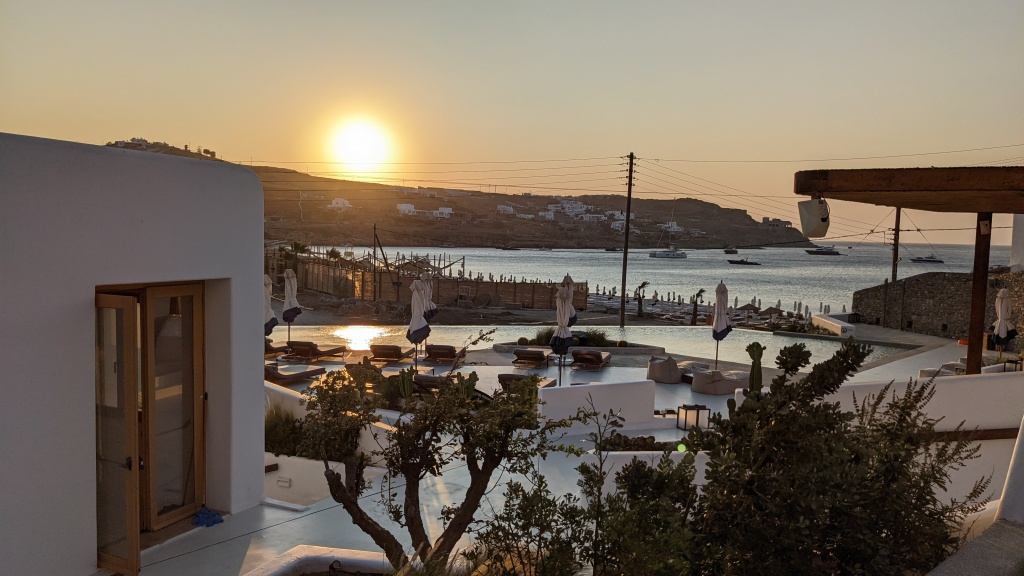 Aegon Mykonos: view of the shared infinity pool from our room