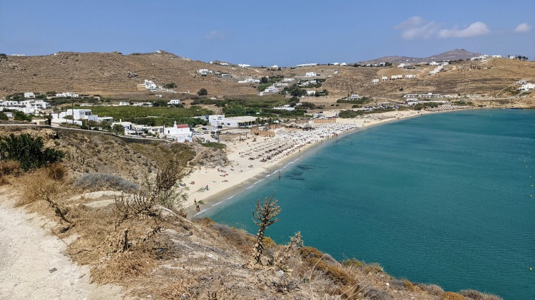 Aegon Mykonos: short walk to Kalo Livadi Beach. The hotel is to the left in the photo (white buildings)