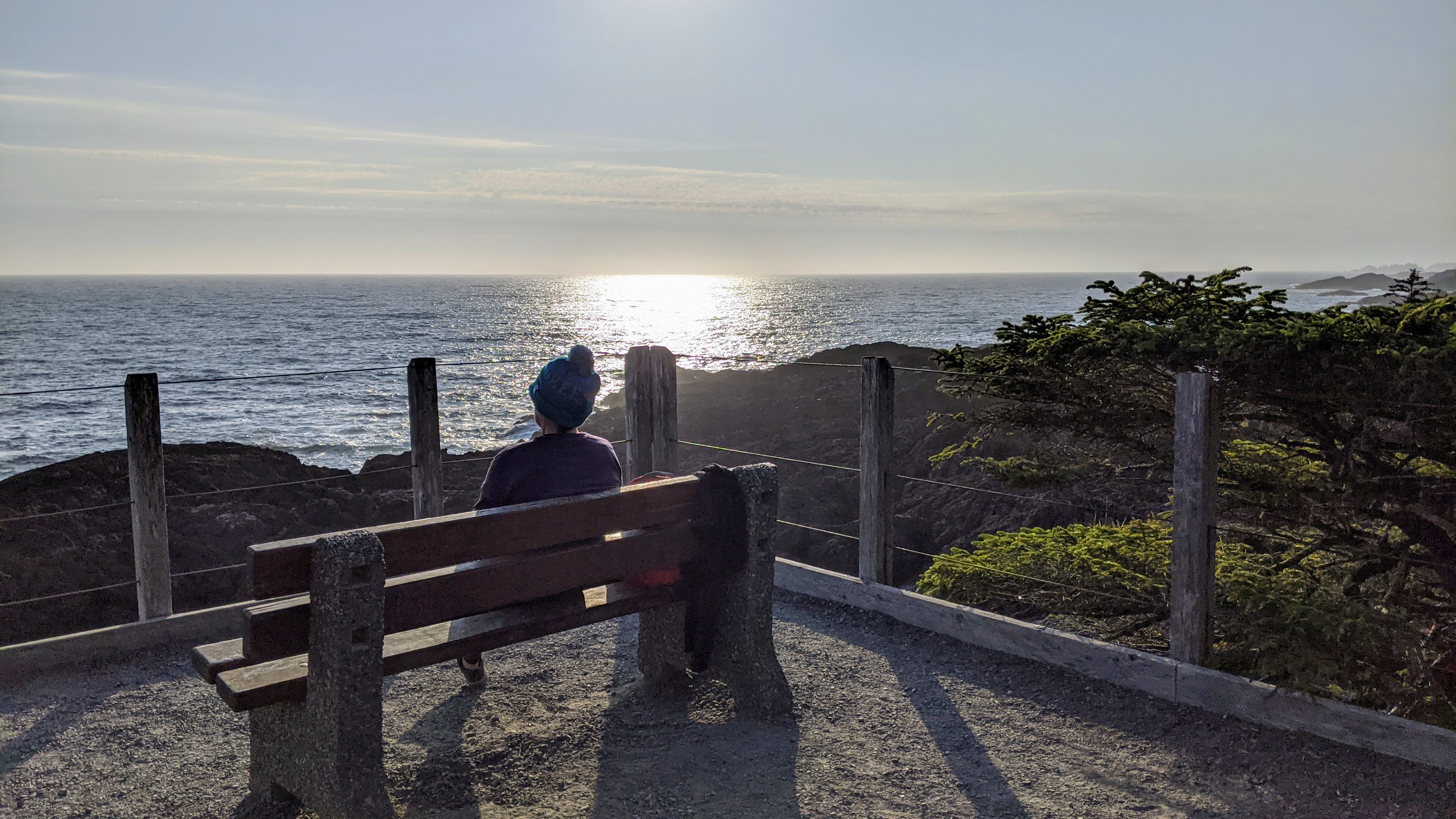 Enjoying the sunset on the Wild Pacific Trail