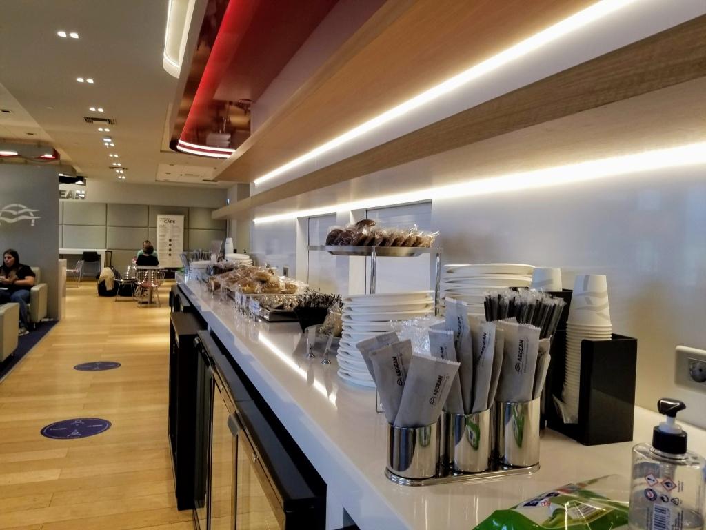 Aegean Lounge in Athens: self-serve area