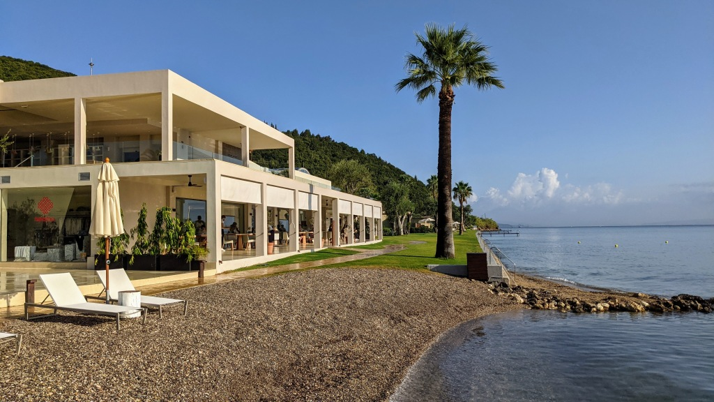 Domes Miramare Corfu Resort: Main restaurant and part of the beach area