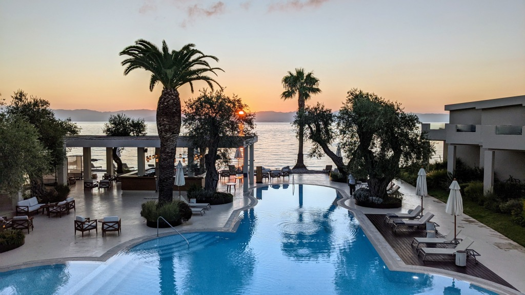 Domes Miramare Corfu Resort: Seaview room view at sunrise and view of the pool