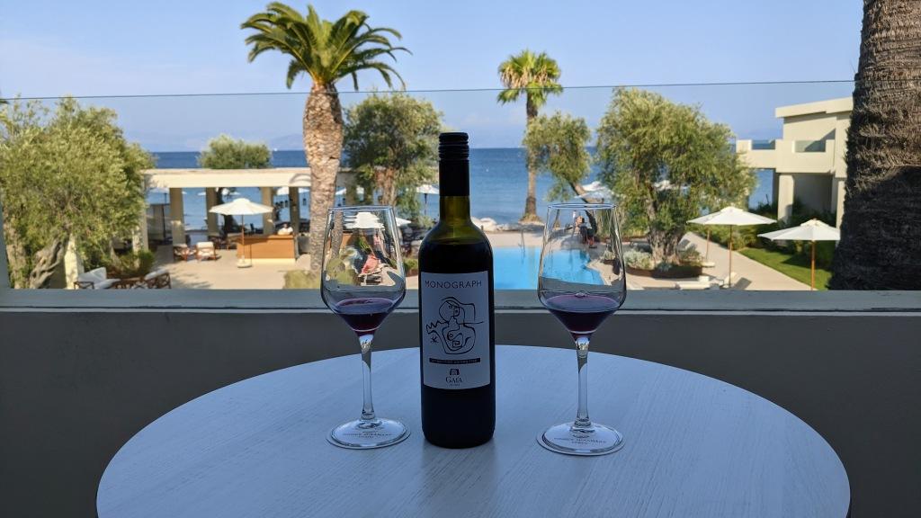 Domes Miramare Corfu: Enjoying some red wine on the balcony