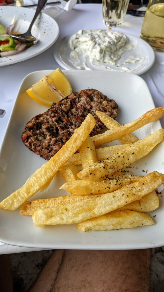 Odos Araxame in Ano Mera: Myconian sausage and chips (sausage was a little dry)