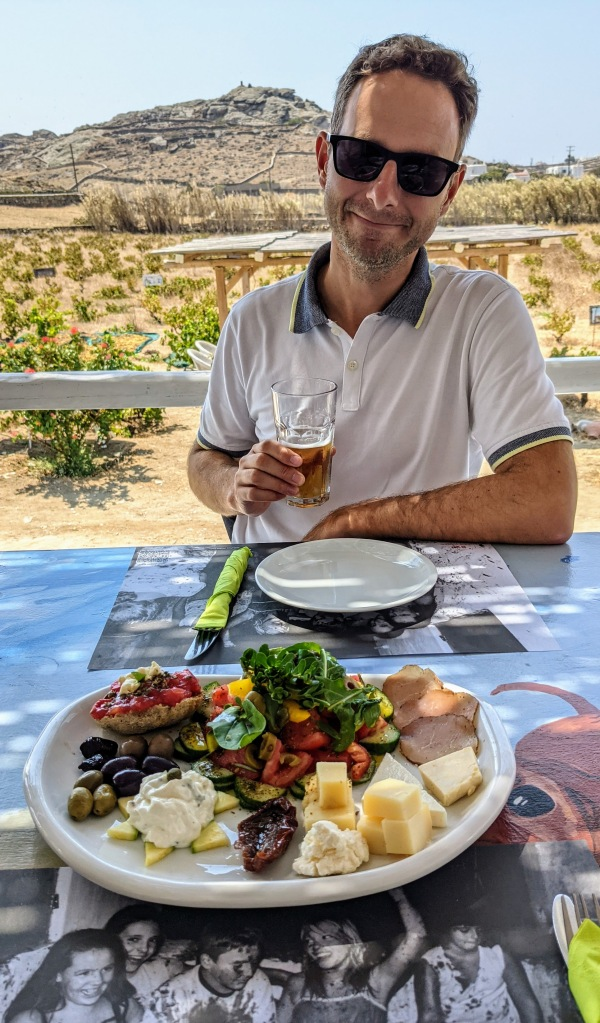 Vioma Organic Farm and Vineyard: Jason at lunch and yes they serve beer here!