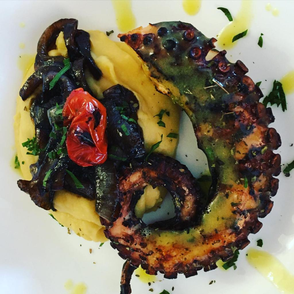Friano Taverna: grilled octopus with veggies and fava bean puree