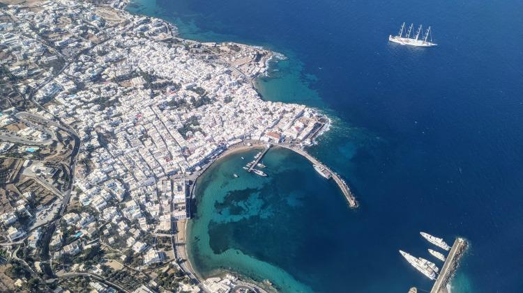 Aerial view of Mykonos Town