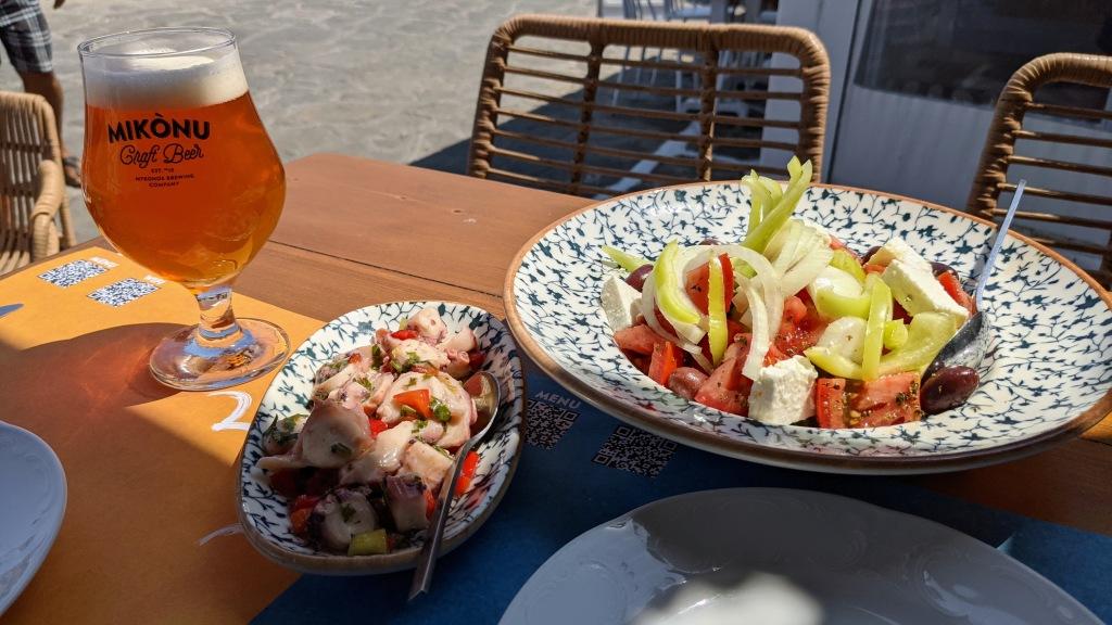 Captain's: Mykonos craft beer draft, pickled octopus, and Greek salad